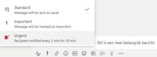 Hoe werkt Microsoft Teams - Bericht met urgentie